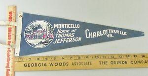 VTG-Felt-Pennant-Historical-Rare-1950s-Monticello-Charlottesville-Virginia