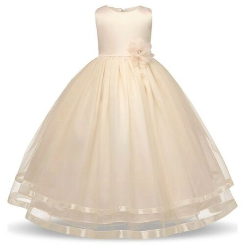 Girls Kids Formal Floral Princess Wedding Bridesmaid Gown Long Dress Age 4-12*UK