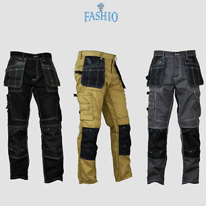 Mens-Construction-Cordura-Knee-Reinforcement-Workwear-Trousers-Utility-Work-Pant