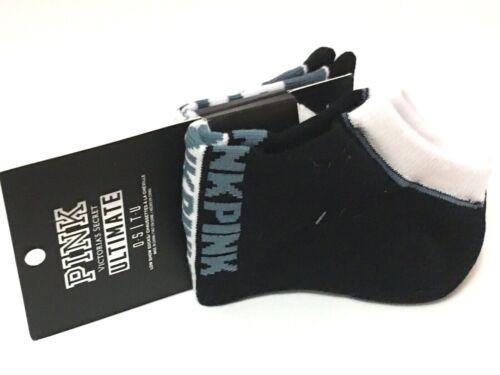 2 PAIRS VICTORIA/'S SECRET PINK BLUE WHITE BLACK LOW SHOW ULTIMATE SOCKS O//S SET
