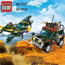 Enlighten 1707 Military Army Bomber Jeep Car Plane Figure DIY Building Block Toy
