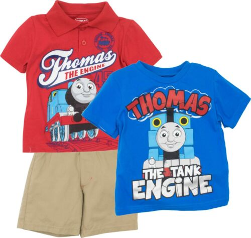 Blue /& Khaki Red Thomas The Train Toddler Boys/' 3pc Polo T-Shirt /& Shorts Set