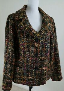 Dialogue-Women-039-s-Plus-Size-20W-Multi-Color-Tweed-Fully-Lined-Wool-Blend-Blazer