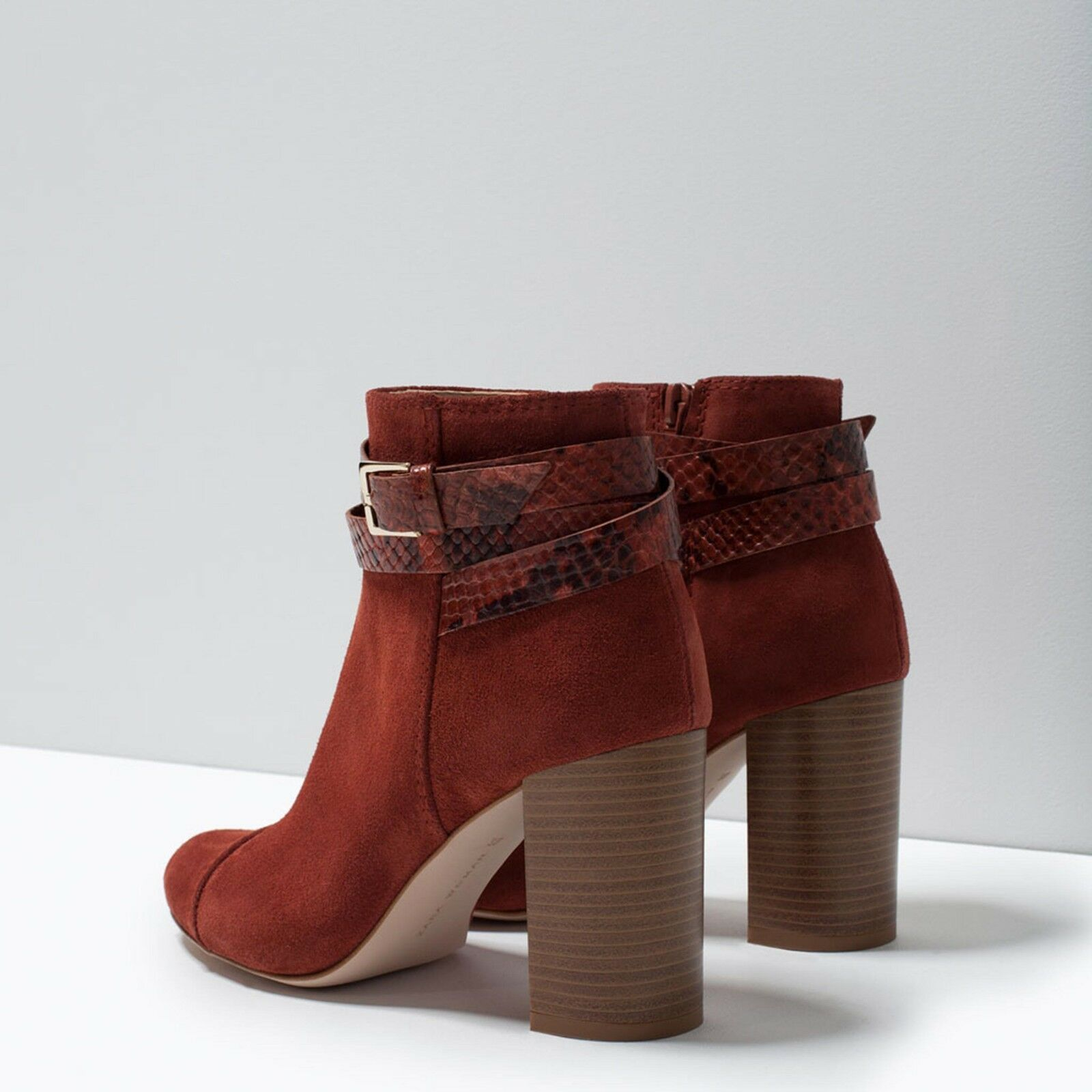 ZARA BRICK SUEDE LEATHER ANKLE Schuhe HIGH HIGH HIGH HEEL Stiefel 5 UK 38  EU 7.5 US 4f765a