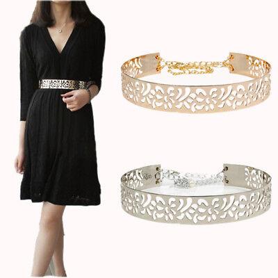 Metal Mirror Women Waist Belts Gold /& Silver Obi Band with Chain For Dress Skirt