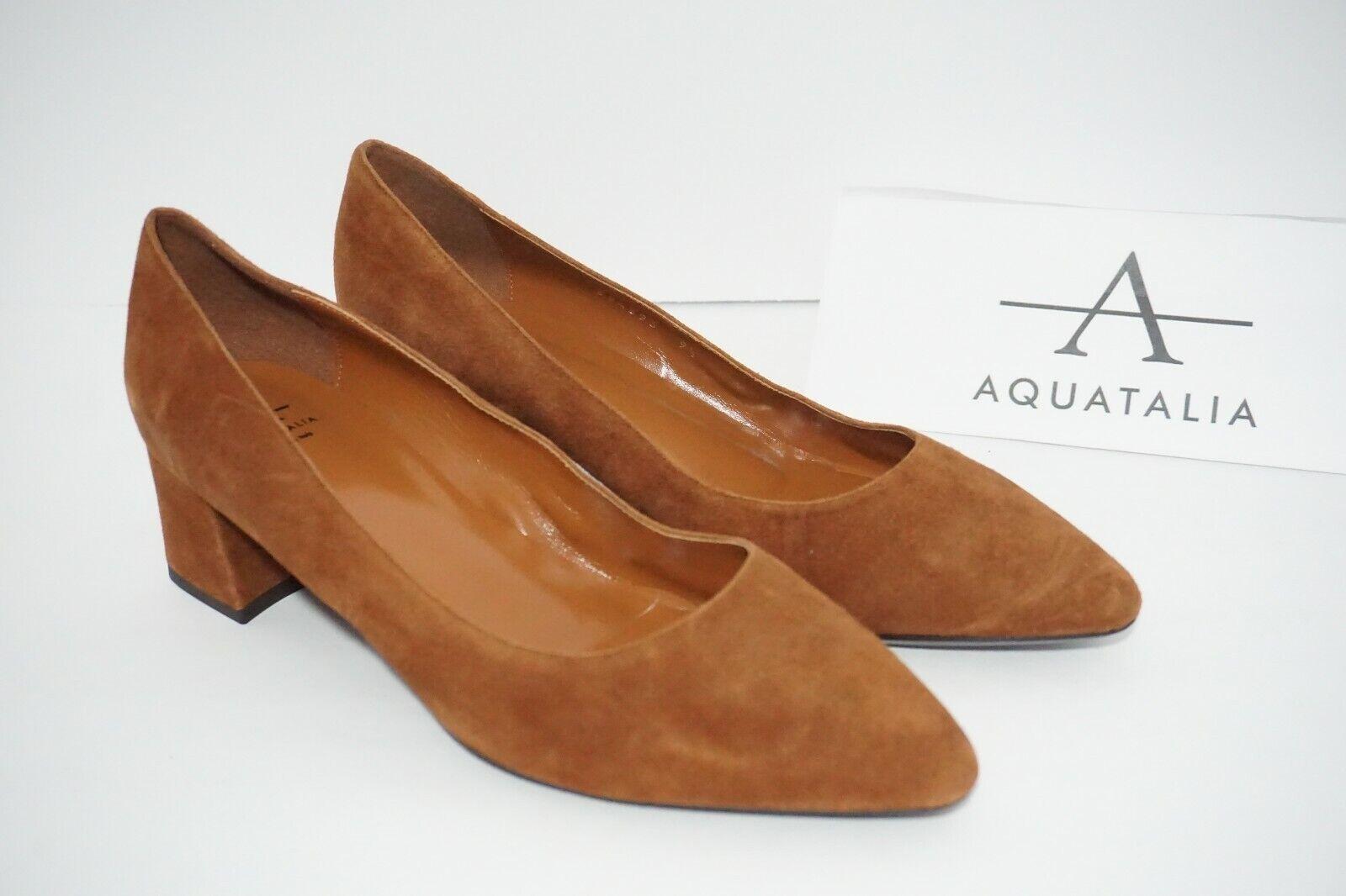 Aquatalia Pasha Waterproof Pointed Toe Heels Pumps Brown Suede US 11 M