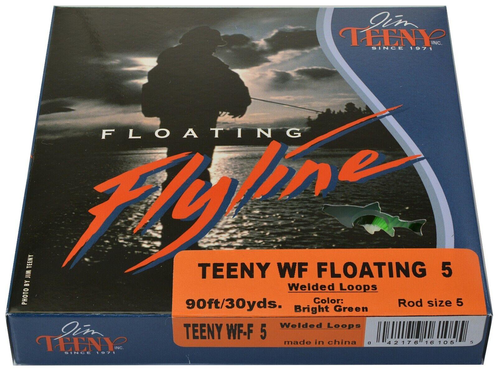 Jim Teeny Flotante Fly Línea Peso Hacia Adelante 5WT 90' bucles soldada-verde Brillante