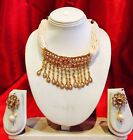 Bollywood Indian Bridal Necklace Earrings Jewellery Antique Gold Cream Pearl P16