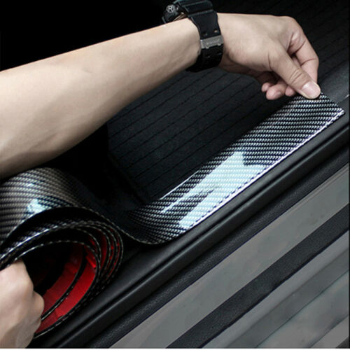 Carbon Fiber Look Car Door Plate Sill Scuff Cover Sticker Anti Scratch L