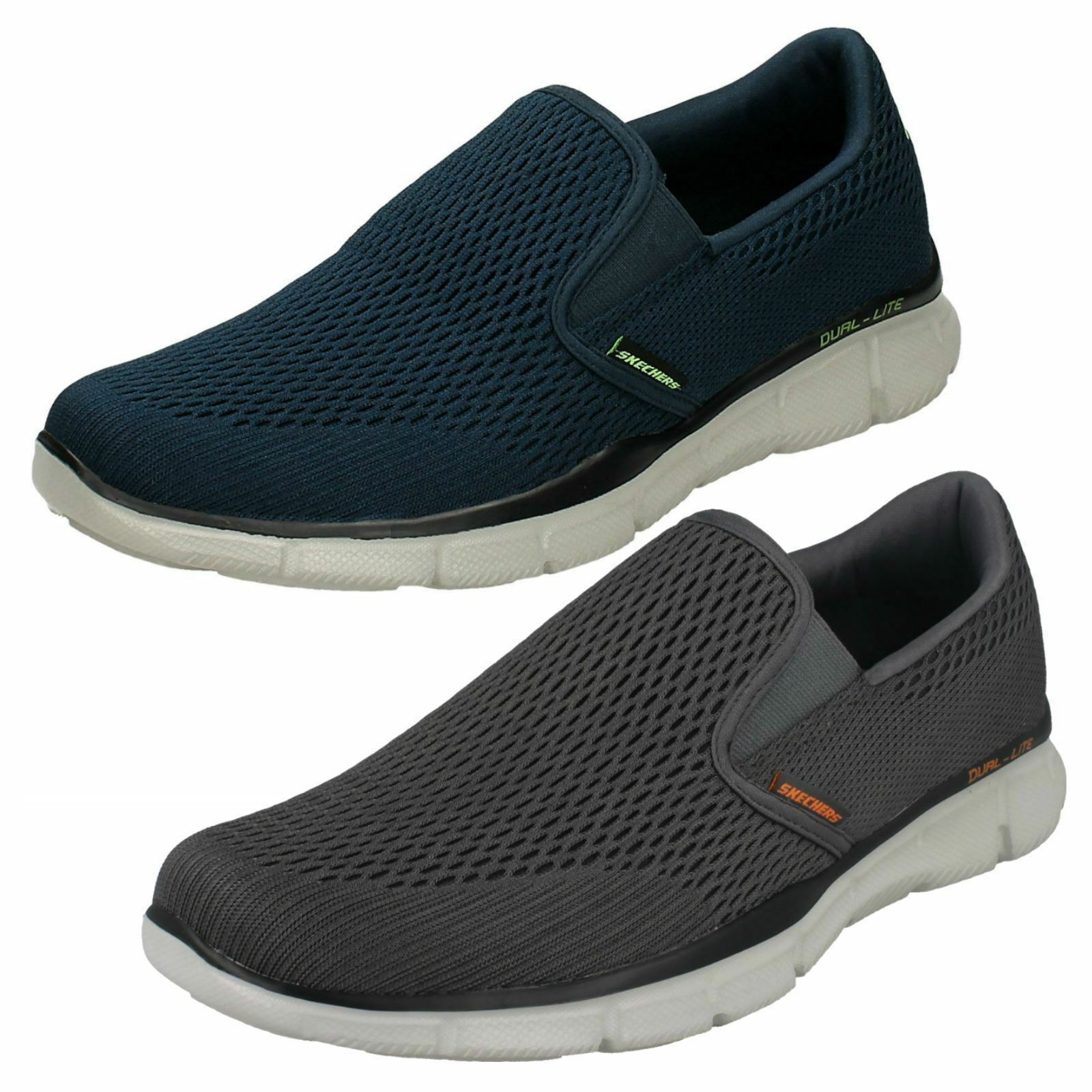 Herren SKECHERS EQUALIZER DOUBLE PLAY MEMORY FOAM NAVY+GREY SLIP ON TRAINER SHOE NAVY+GREY FOAM 27676a