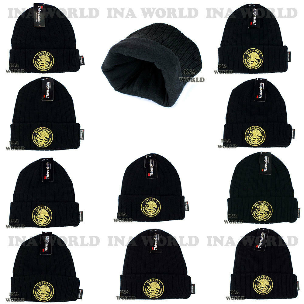 MEXICO Beanie hat Skull Federal State Cuffed Winter Skull hat cap 3M THINSULATE-Strech fit d05b2f