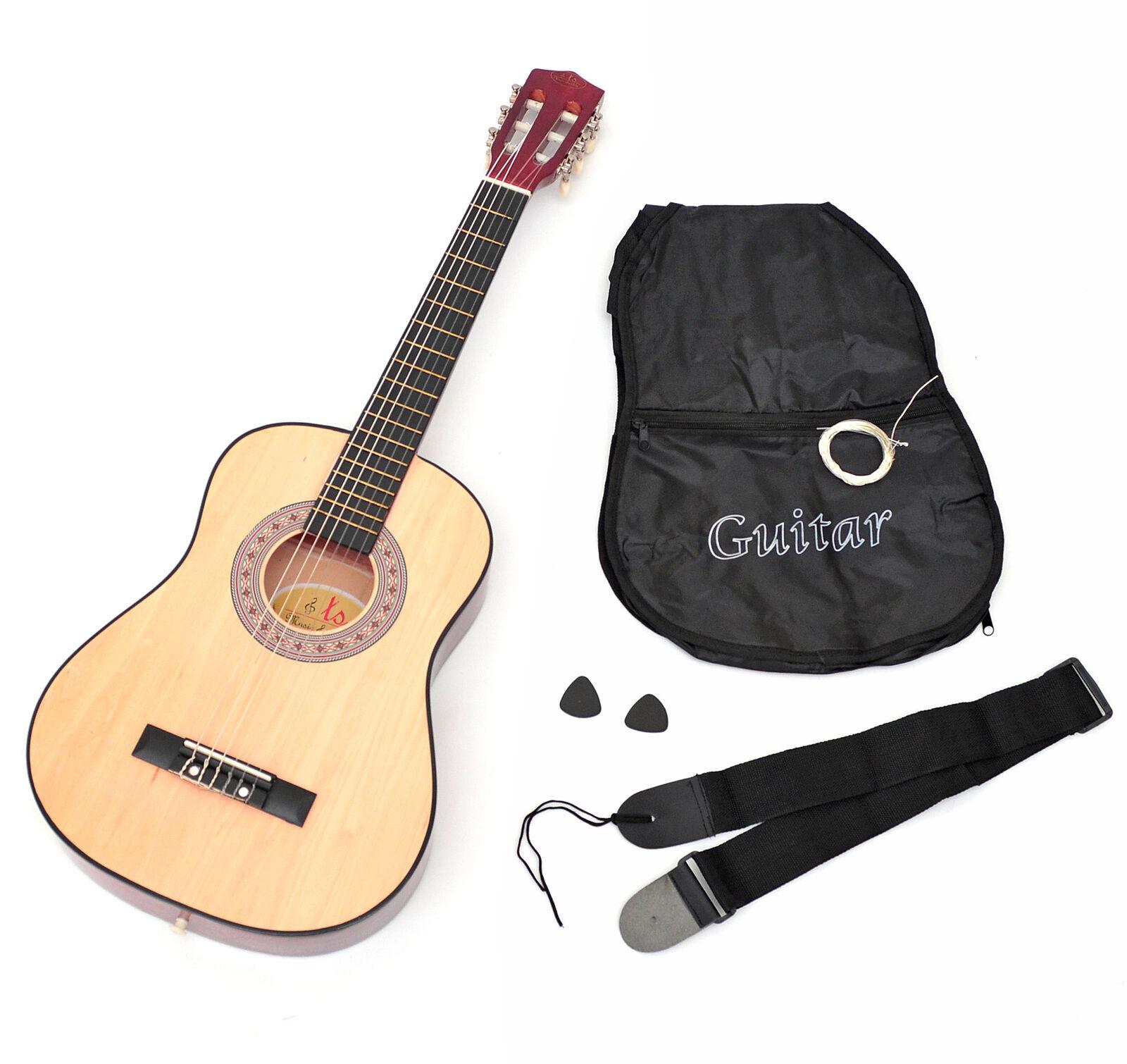 Guitarra Guitarra Guitarra acústica infantil (talla 1 2 incluye funda, correa y cuerdas), marrón  orden en línea