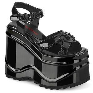 Demonia WAVE-09 Black Shiny Wedge Platform Ankle Strap Gothic Women's Sandals
