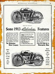 1913 Michaelson Motor Co. Motorcycles New Metal Sign: Minneapolis, Minnesota
