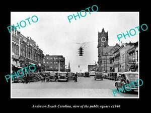 OLD-LARGE-HISTORIC-PHOTO-OF-ANDERSON-SOUTH-CAROLINA-THE-PUBLIC-SQUARE-c1940