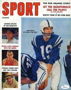 Johnny Unitas Jsa Coa Autograph 1958 Sport Magazine Hand Signed Authentic