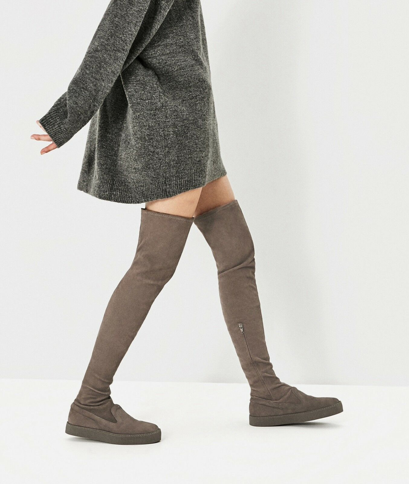 ZARA AW 2016 LEATHER OVER-THE-KNEE OVER-THE-KNEE LEATHER CASUAL Stiefel TAUPE ALL SIZES REF. 5001/101 d23118