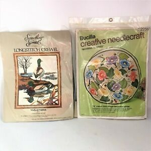 Bucilla-amp-Something-Special-Complete-Long-Stitch-Crewel-Work-Kits-Floral-Ducks