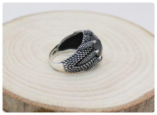 Negro sólido de plata esterlina 925 Zircon Piedra Anillo de garras para hombre