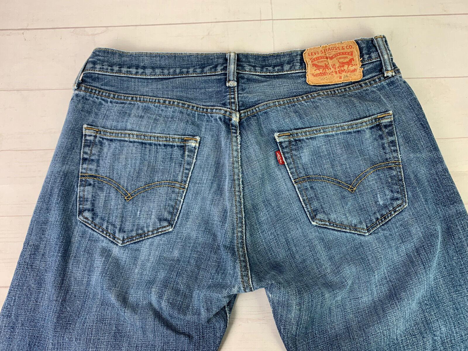 Jeans LEVIS 501 Label Size 34x32 Distressed Blue … - image 2