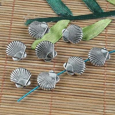 16pcs antiqued silver shell design spacer beads G1175