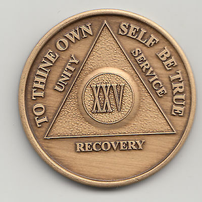 25 Years - XXV Years - Alcoholics Anonymous recovery medal token chip coin