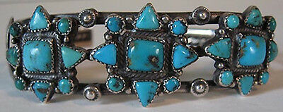 GREAT VINTAGE NAVAJO INDIAN SILVER TURQUOISE MEN'S CUFF BRACELET
