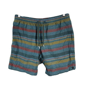 Quiksilver-Mens-Board-Shorts-Size-Medium-Multicoloured-Striped-Sweat-Drawstring
