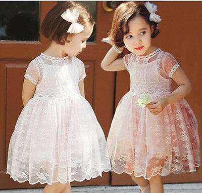 NEW Kids Baby Girls Short Sleeve Gauze Lace Party princess dress