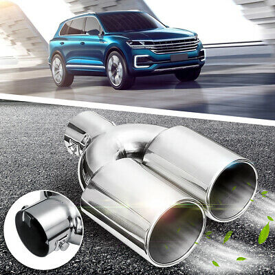 60mm Universal Car Exhaust Dual Tail Pipe Tips Inlet Stainless Steel Chrome