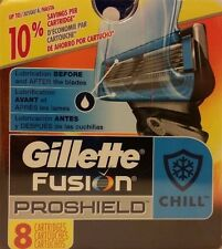NEW GILLETTE FUSION PROSHIELD CHILL 8 CARTRIDGES 100% AUTHENTIC RAZOR BLADES