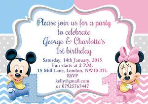 Detalles De 10 X Gemelos Invitaciones Personalizadas Tarjetas De Agradecimiento Baby Mickey Minnie Mouse Ver Título Original