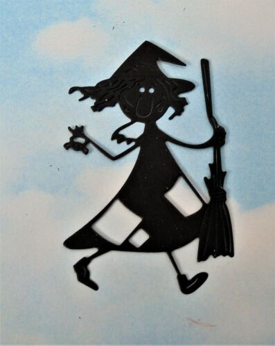 card making, Die Cut Halloween Witch x 8 topper silhouette black