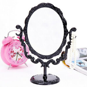Girl-Desktop-Rotatable-Gothic-Rose-Makeup-Stand-Mirror-Black-Butterfly-UP-BN