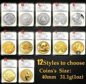 Genuine-1-troy-oz-999-fine-silver-24k-Gold-Coins-With-It-s-Case
