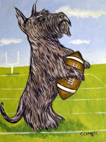 SCOTTISH TERRIER FOOTBALL 8.5x11 dog art  artist prints animals impression