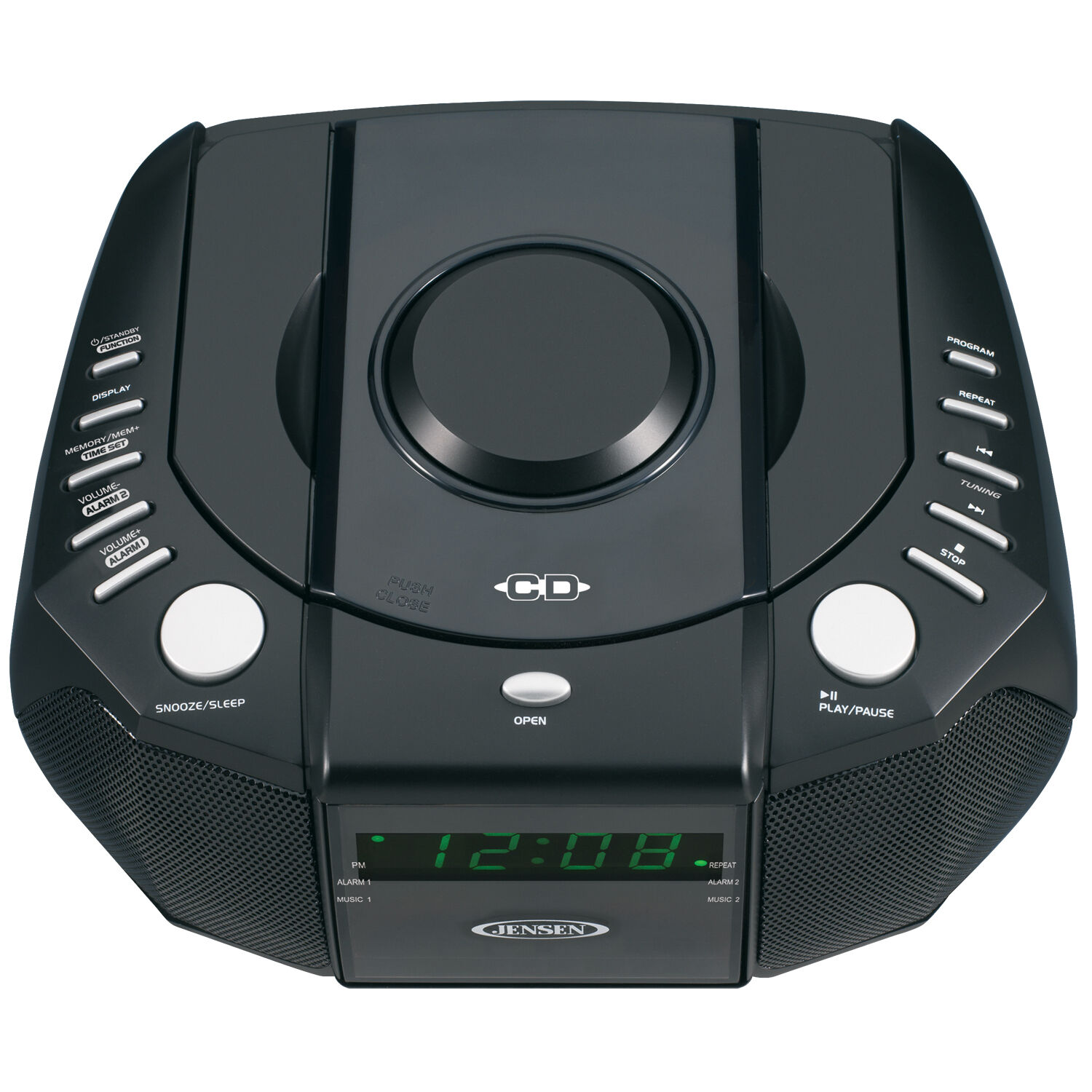 jensen portable dual alarm clock am fm stereo radio top loading cd player new ebay. Black Bedroom Furniture Sets. Home Design Ideas