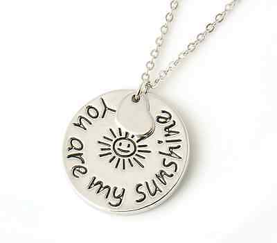 """Women's """"you are my sunshine"""" Warm Love Quote Silver Round Pendant Necklace"""