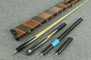 034-Grand-Cues-034-3-4-Jointed-Ash-Shaft-Black-Ebony-Handmade-Snooker-Cue-Set-1321