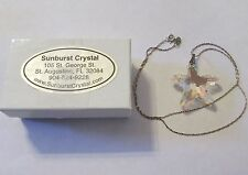 SUNBURST CRYSTAL 925 ster silver SWAROVSKI STRASS STARFISH pendant necklace AB
