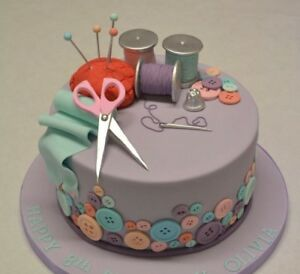 Marvelous Sewing Kit Scissors Edible Cake Topper Birthday Decoration Ebay Funny Birthday Cards Online Alyptdamsfinfo