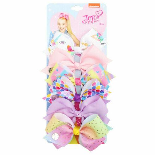 Kids JOJO Siwa Large Girl Hair Bow Clips Birthday Unicorn Party Meraid Dance UK