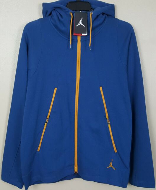 sale retailer 1f8ba f290c NIKE AIR JORDAN VARSITY FLEECE HOODIE SWEATSHIRT FRENCH BLUE GOLD NEW (SIZE  3XL)
