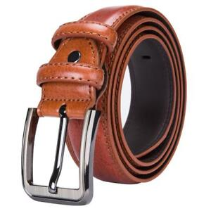 Red-Brown-Leather-Mens-Belts-Pin-Buckle-1-5-Inches-Trouser-Strap-Jeans-Belt-Gift