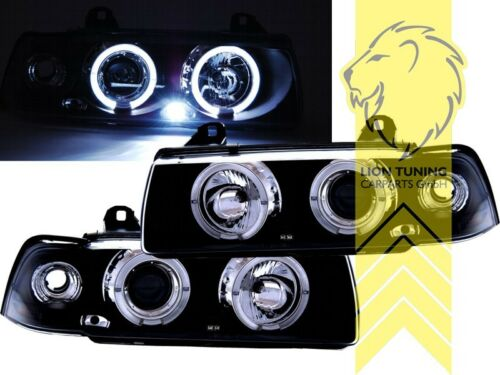 LED Angel Eyes Scheinwerfer für BMW E36 Limousine Touring Compact schwarz