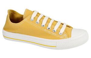 Damen gelb Schnür Leinenschuhe  f80016