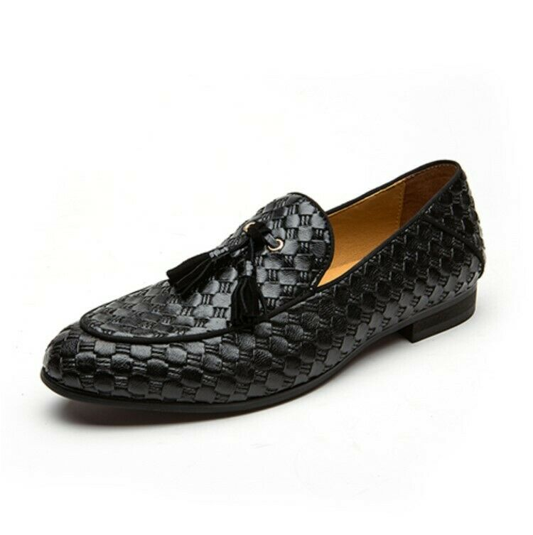 2019Fashion oxford braid leather men loafers spring autumn breathable flat shoes