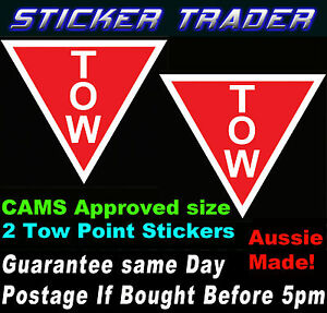 Motor Racing Tow Point Stickers Decals Cams Approved Rally