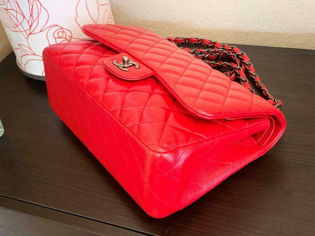 Authentic Chanel Classic Jumbo Red Caviar Double … - image 7