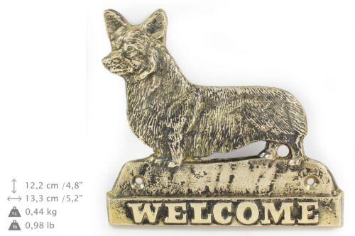 Welsh Corgi Pembroke brass tablet with image of a dog Art Dog USA